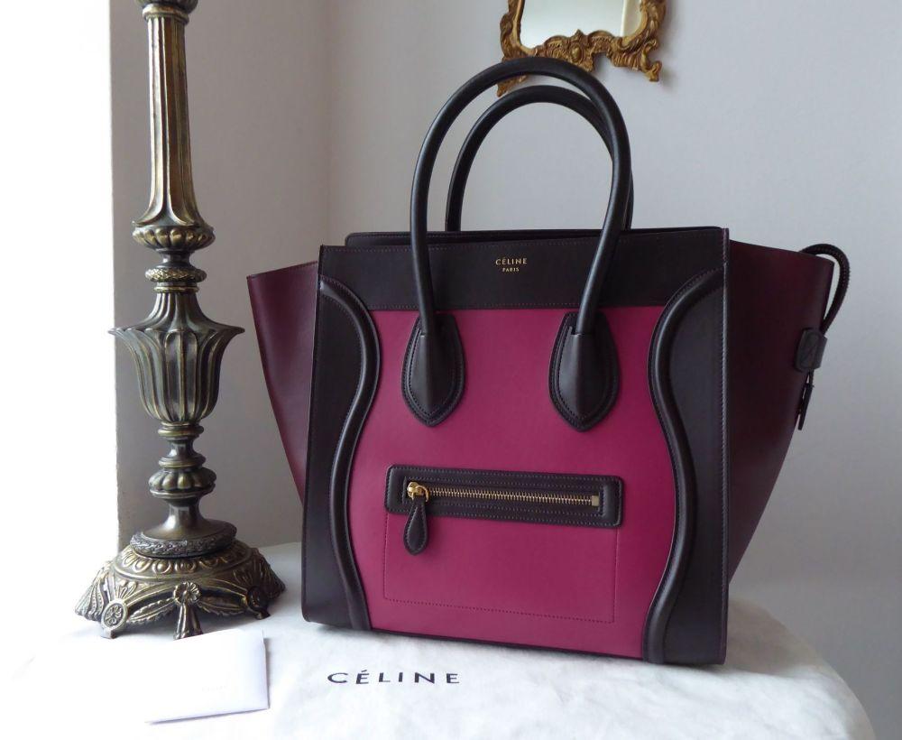 Céline Tri-Color Mini Luggage Tote in Purple Orchid