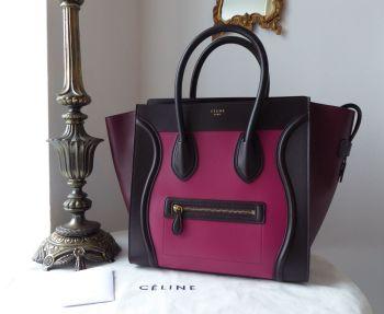 Céline Limited Edition Tricolore Mini Luggage Tote in Purple Orchid