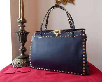 Valentino Rockstud  Shoulder Tote in Navy Vitello Calfskin