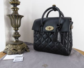 Mulberry Cara Delevingne Mini Backpack in Black Quilted Lamb Nappa Leather - New