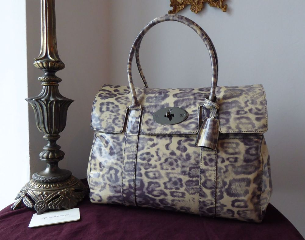 Mulberry Classic Bayswater in Putty Smudged Leopard Printed Patent Leather