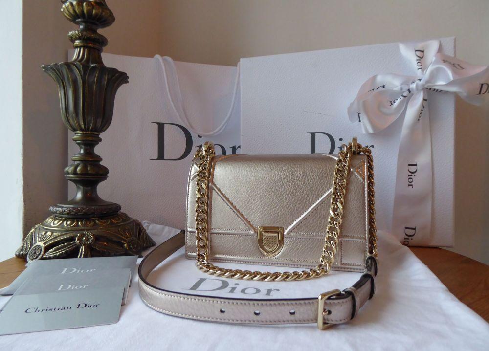 Dior Diorama Flap Bag in Rose Gold Copper Metallic Calfskin with Champagne
