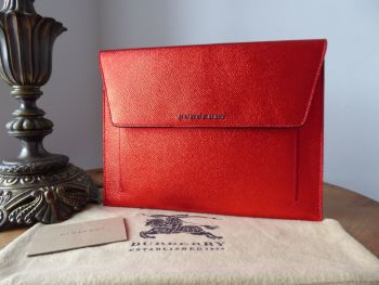 Burberry Limited Edition iPad Tech Case in Metallic Flame Cadmium Red Calfskin