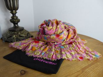Louis Vuitton 100% Cotton Pareo Scarf in Ikat Rose Summer Monogram
