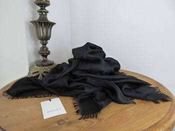Gucci GG Jacquard Monogram Large Square Scarf Wrap in Black Silk Wool Mix - New*