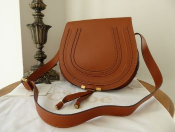Chloé Marcie Large Saddle Bag Satchel in Tan Pebbled Calfskin - New