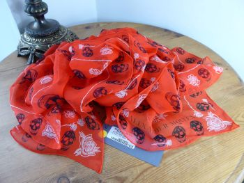 Alexander McQueen Skulls & Roses Scarf Wrap in Flame Red Silk Chiffon  - New