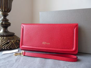 Alexander McQueen Heroine Wristlet Clutch in Raspberry Red Textured Leather - New*