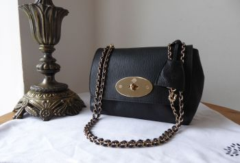 Mulberry Lily Regular in Black Glossy Goat with Shiny Gold Hardware and Red Felt Liner