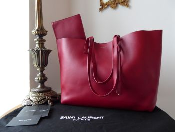 YSL Saint Laurent East West Supple Shopper Tote and Zip Pouch in Eros Red Calfskin