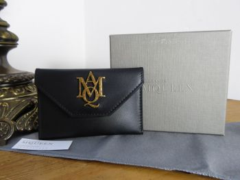 Alexander McQueen Insignia Envelope Card Holder in Smooth Soft Matte Black Calfskin - New*