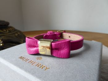 Mulberry Bow Bracelet in Mulberry Pink Glossy Goat with Shiny Gold Hardware - New