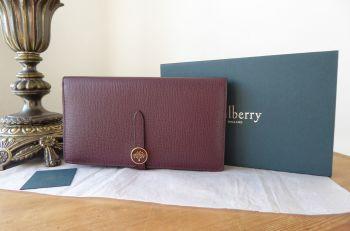 Mulberry Tree Tab Long Folded Continental Wallet Purse in Oxblood Cross Grain
