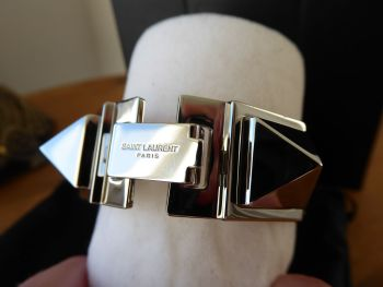 YSL Saint Laurent Clous Punk Studs Carré Leather Bracelet Cuff in Black Smooth Calf with Shiny Silver Hardware - New*