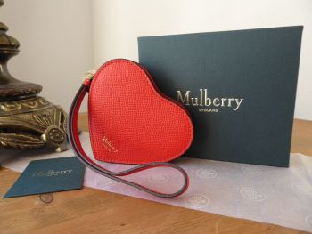 Mulberry Valentine Heart Coin Purse Wristlet in Lipstick Red Small Printed Grain - New