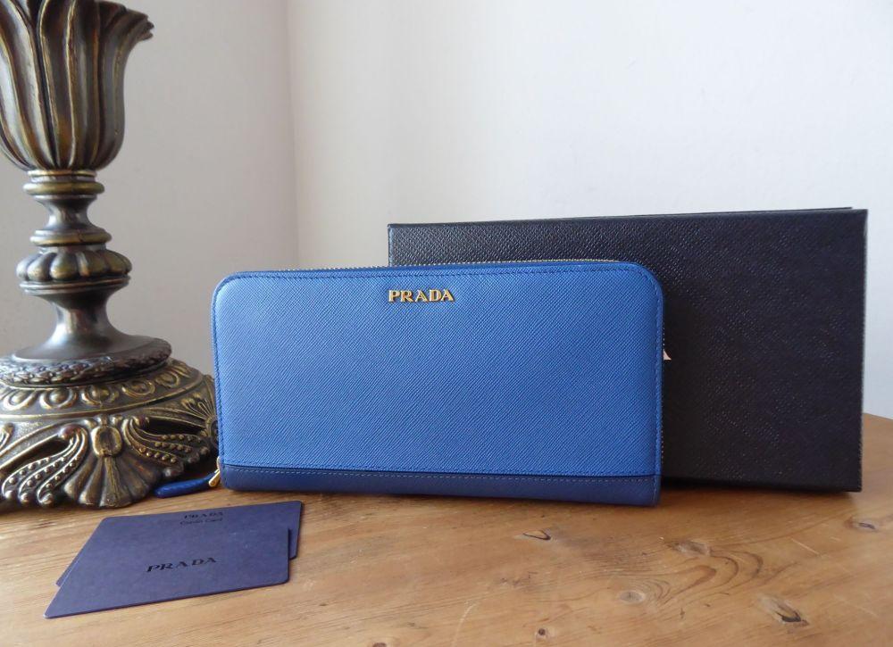 Prada Zip Around Continental Purse Wallet in Saffiano Stripe Azzuro & Bluet