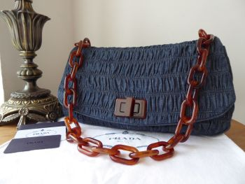 Prada Shoulder Flap Bag in Dark Blue Avio Denim Gaufre
