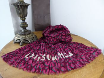 Louis Vuitton Stephen Sprouse Leopard Graffiti Pareo Scarf in Rouge Fauviste 100% Cotton