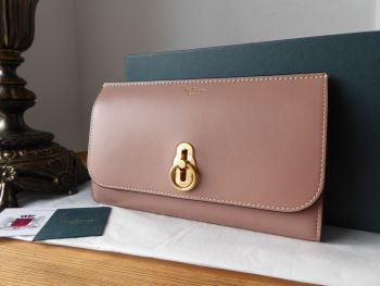 Mulberry Amberley Continental Long Wallet in Dark Blush Smooth Calf Leather - New