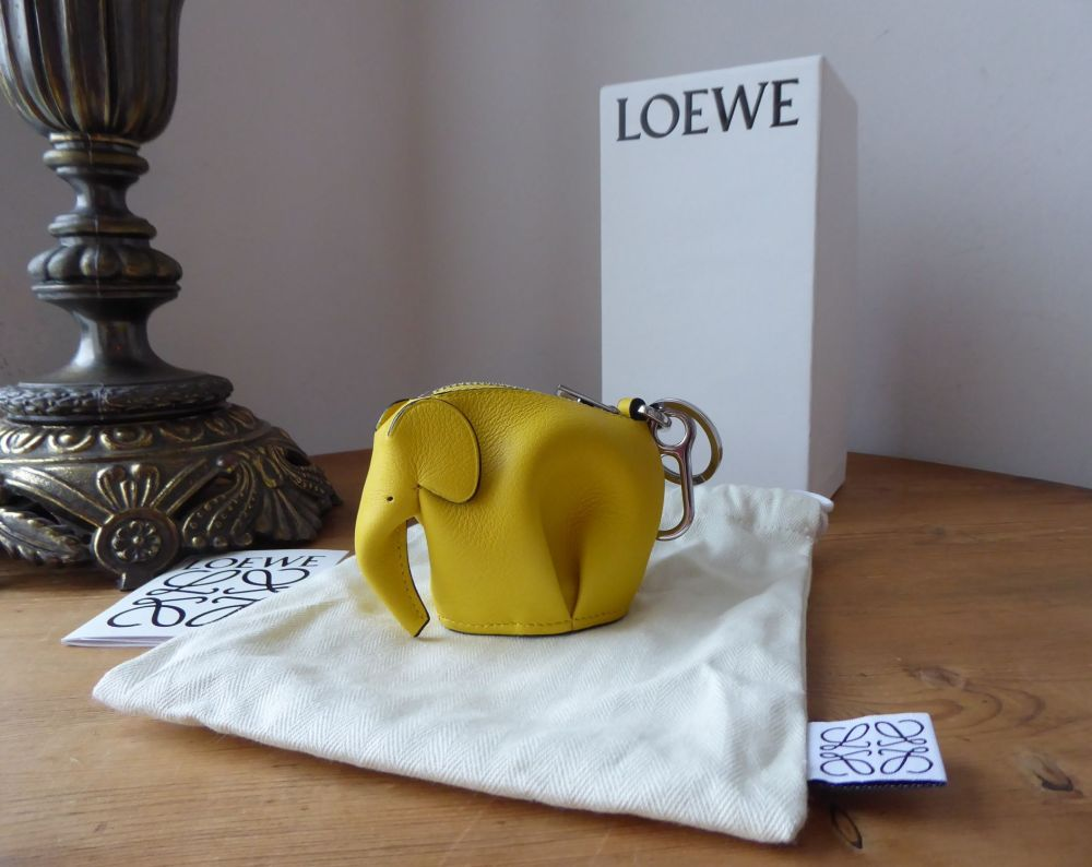 LOEWE Elephant Charm Zip Coin Purse in Bright Yellow with Palladium Hardwar