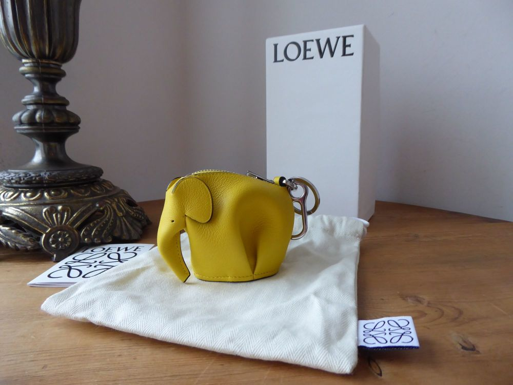 LOEWE Elephant Charm Zip Coin Purse in Narcisus Yellow with Palladium Hardw