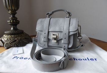 Proenza Schouler PS1 Micro in Fog Grey Lambskin Lux with Palladium Hardware