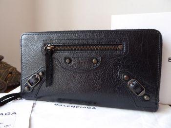 Balenciaga Classic Money Zip Around Purse Wallet in Black Agneau Vintage Lambskin