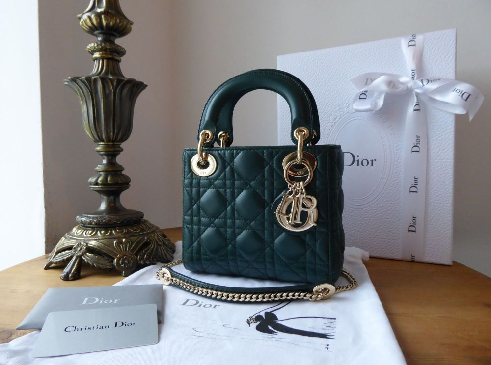 Dior Mini Lady Dior in Cypress Green Lambskin with Champagne Gold Hardware