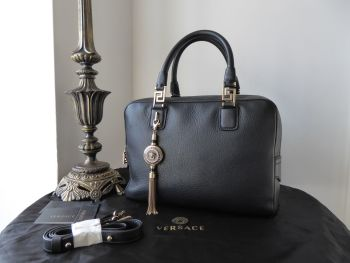 Versace Demetra Vanitas Double Zipped Bowler Boston in Black Vitello Cervo