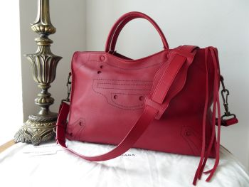 Balenciaga Blackout City in Red Veau Cashmere Calfskin