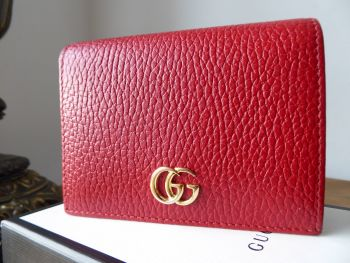Gucci GG Marmont Petite Flap Wallet in Hibiscus Red Textured Calfskin