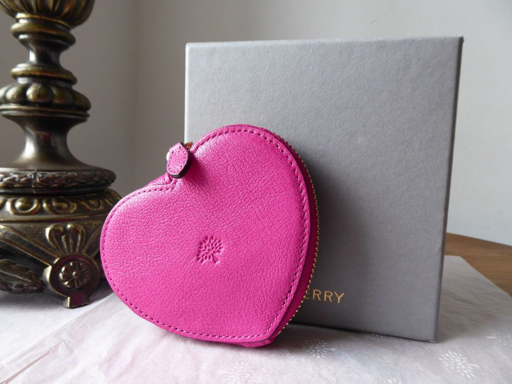 Mulberry Zip Around Heart Coin Purse in Mulberry Pink Glossy Goat