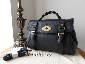 Mulberry Sustainable Icon Alexa in Black Heavy Grain Leather