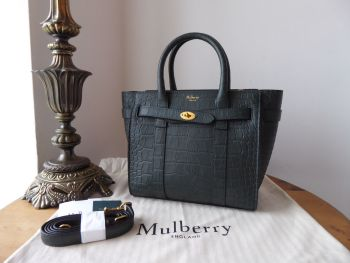 Mulberry Mini Zipped Bayswater in Mulberry Green Matte Croc Print Leather - New