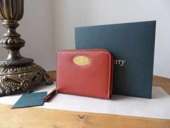 Mulberry Small Plaque Zip Around Purse Wallet in Rust Silky Calf  - New*