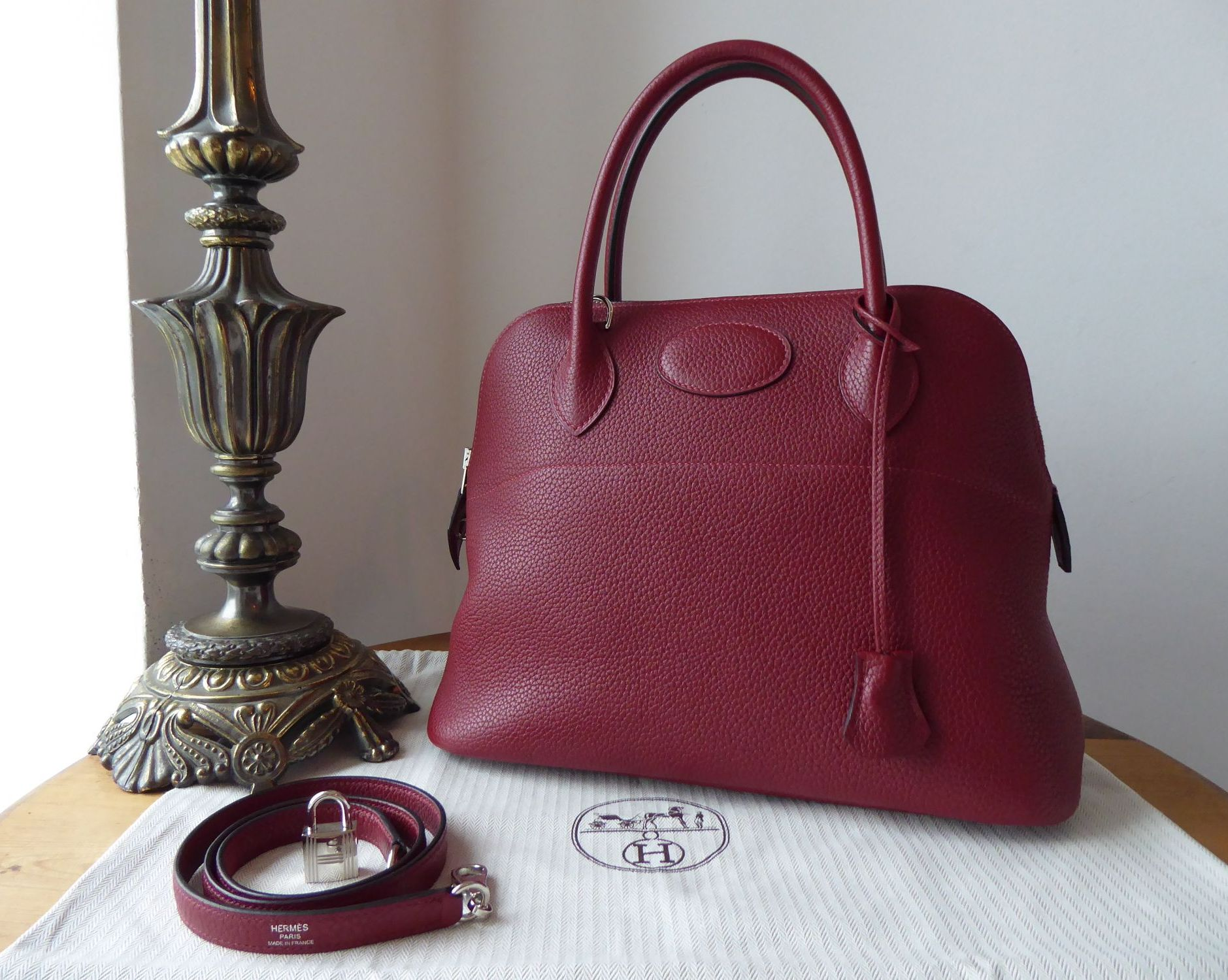 Hermés Bolide 31 in Rouge H Clemence Leather with Palladium Hardware
