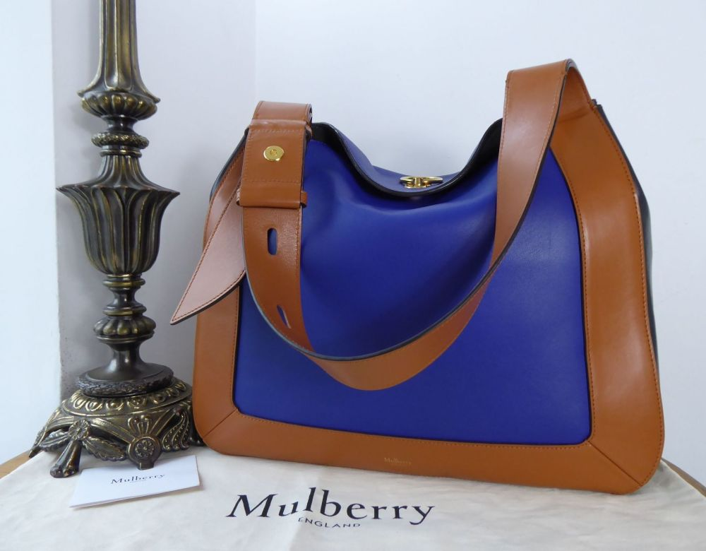 Mulberry Marloes Tricolour Hobo in Bright Indigo,Tan & Black Smooth Calf