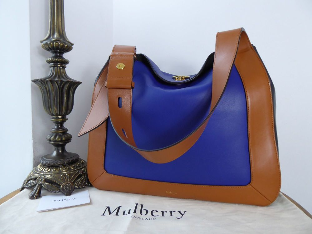 Mulberry Marloes Hobo in Indigo and Tan Smooth Calf Leather