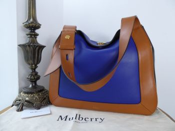 Mulberry Marloes Tricolour Hobo in Bright Indigo, Tan & Black Smooth Calf Leather