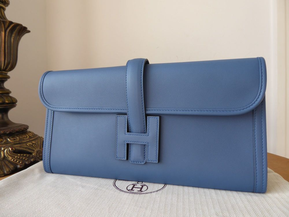 Hermés Jige Elan Clutch 29 in Blue Agate Swift Calfskin New