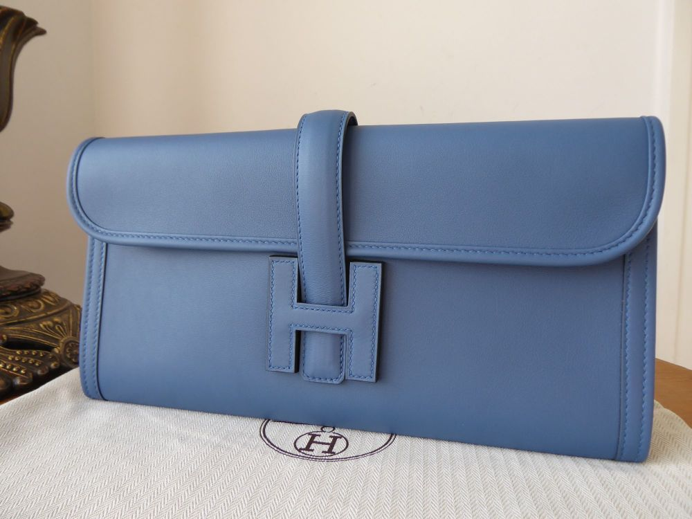 Hermés Jige Elan Clutch 29 in Blue Agate Swift Calfskin - New