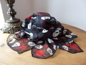 Alexander McQueen Skull and Roses Scarf Wrap in Black, Blood Red & Ivory 100% Silk Chiffon - New*
