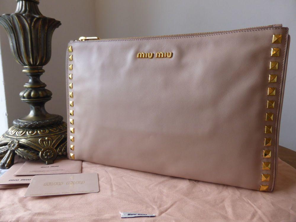 Miu Miu Large Studded Clutch in Zip Cammeo Pink Soft Calf Leather