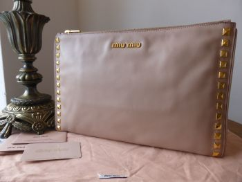 Miu Miu Large Studded Zip Top Clutch in Cammeo Pink Soft Calf Leather