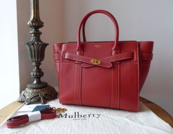 Mulberry Small Zipped Bayswater in Red Ochre Silky Calf Leather - New