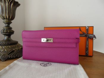 Hermés Kelly Classic Continental Wallet in Rose Pourpre Mysore Goatskin