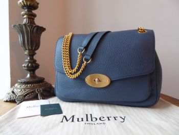 Mulberry Darley Large Shoulder Bag in Nightfall Blue Heavy Grain Leather - New