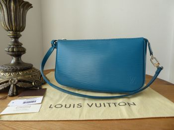 Louis Vuitton Pochette Accessoires NM in Epi Cyan with Shiny Silver Hardware