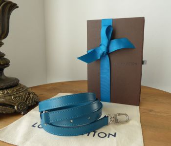 Louis Vuitton Adjustable Shoulder Strap 16mm in Cyan with Shiny Silver Hardware.