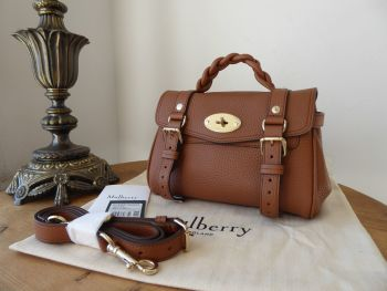 Mulberry Sustainable Icon Mini Alexa in Chestnut Heavy Grain Leather - New